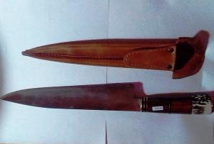 1026 - Cuchillo anillado 28 cm (acero negro)
